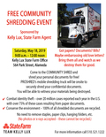 Flier for Kelly Lux State Farm Community Shred Day