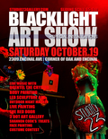 Flier for Black Light Art Show and Night Market