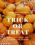 Flier for In-store Trick or Treating at Feathered Outlaw
